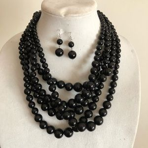 Ribbon Candy Graduated Black Faux Pearl Necklace